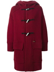 Bark Knitted Duffle Coat Red