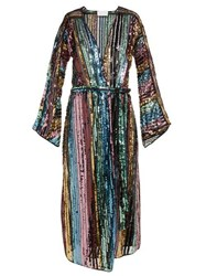 Athena Procopiou Dancing Rainbow Sequinned Kimono Dress Multi