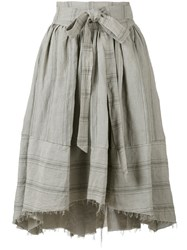 Aleksandr Manamis Apron Wrap Travertine Skirt Women Cotton Linen Flax I Grey