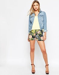 Asos Pleated Culotte Shorts In Retro Floral Print Multi