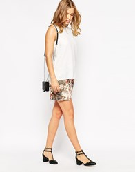 Love Mini Skirt In Floral Print Beige Floral