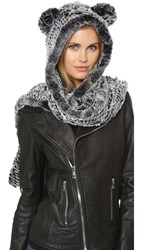 Jocelyn Fur Hooded Scarf With Ears And Mittens Snow Top