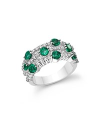 Bloomingdale's Emerald And Diamond Three Row Band Ring In 14K White Gold