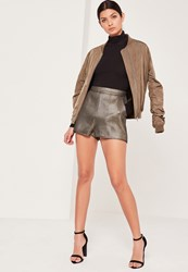 Missguided Metallic Textured Suit Short Gold