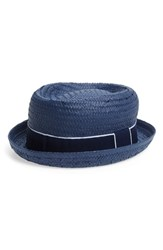 Fits Straw Boater Hat Blue Navy Navy