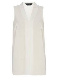 Dorothy Perkins Pleat Front Sleeveless Top White