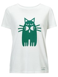 People Tree Cat Print T Shirt White Green
