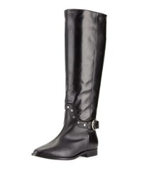Etienne Aigner Reese Tall Studded Buckle Flat Boot Black