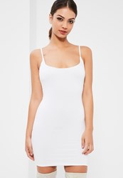 Missguided White Double Layer Slinky Strappy Cami Dress