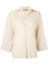 Vince Stretch Oversized Shirt Nude Neutrals
