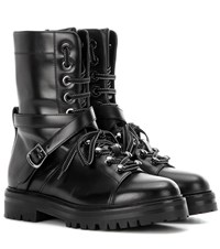 Valentino Combat Leather Boots Black