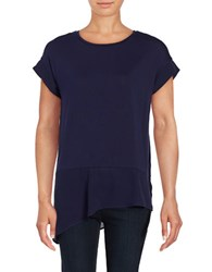 Lord And Taylor Asymmetrical Mix Media Tee Evening Blue