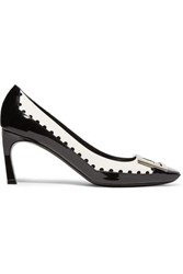 Roger Vivier Trompette Perforated Smooth And Patent Leather Pumps Black