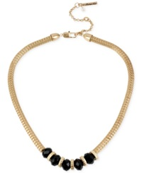 Kenneth Cole New York Gold Tone Jet Bead Frontal Necklace