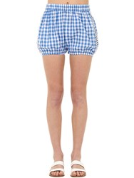 Dodo Bar Or Checked Cotton And Lace Shorts Blue
