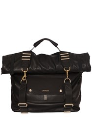 Balmain Roll Top Convertible Leather Backpack