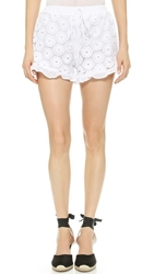 Liv Margo Ruffle Hem Shorts White