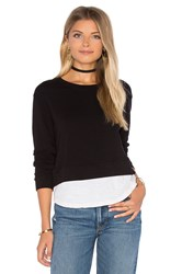Monrow Double Layer Sweatshirt Black And White