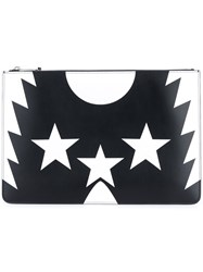 Givenchy Star Print Clutch Women Calf Leather One Size Black