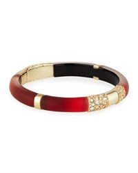 Alexis Bittar Ombre Frosted Hinged Crystal Bangle Bracelet Red