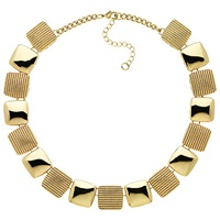 Monet Textured Square Bead Collar Necklace Gold
