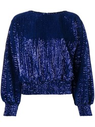 Rta Round Neck Glitter Blouse Blue