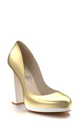 Women's Shoes Of Prey Leather Platform Pump Gold White