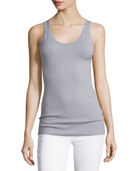 Minnie Rose Essential Layering Scoop Neck Tank Dark Gray