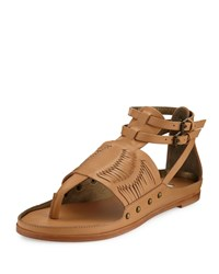 Cynthia Vincent Jinxed Leather Thong Sandal Natural