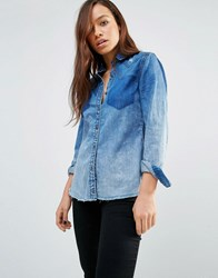 Blank Nyc Faded Denim Shirt With Raw Hem And Distressing Float On Blue