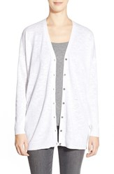 Women's Eileen Fisher Organic Cotton V Neck Cardigan White