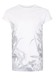 Topman White Floral Hem Print Muscle Fit T Shirt
