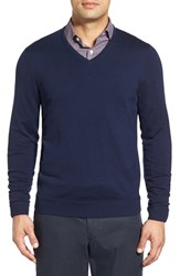 John W. Nordstromr Men's Big And Tall Nordstrom Merino Wool V Neck Sweater Navy Night