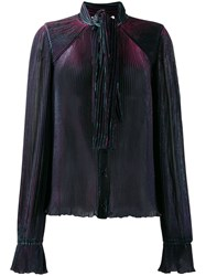 Marco De Vincenzo Pleated Neck Tied Blouse Blue