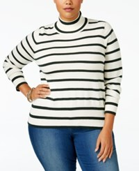 Melissa Mccarthy Seven7 Trendy Plus Size Striped Turtleneck Sweater Egret Pine Grove