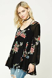 Forever 21 Contemporary Rose Print Tunic Black Pink