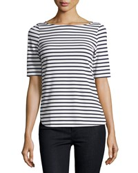 Casual Couture Striped Boat Neck Half Sleeve Tee White Black