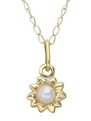 Lord And Taylor White Pearl 14K Yellow Gold Flower Pendant Necklace Pearl Gold