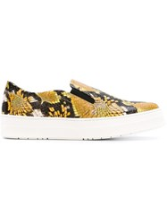 Studio Pollini Snakeskin Slip On Sneakers Yellow And Orange