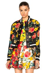 Fausto Puglisi Leather Jacket In Black Floral Black Floral