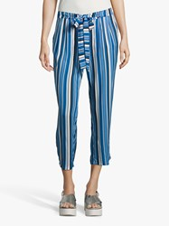 Betty Barclay Cropped Stripe Trousers Dark Blue Blue