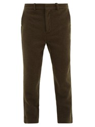 Raey Tapered Leg Boiled Wool Trousers Green