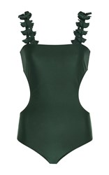 Adriana Degreas Ginko Leaves Cutout Swimsuit Green