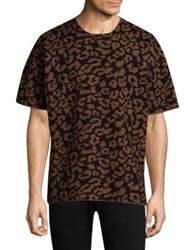 Ovadia And Sons Leopard Wool Tee Camel Black