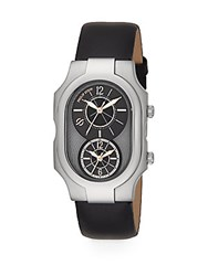 Philip Stein Teslar Signature Dual Time Stainless Steel And Black Calf Leather Strap Watch