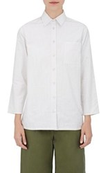 Harvey Faircloth Women's Pinstriped Cotton Shirt White