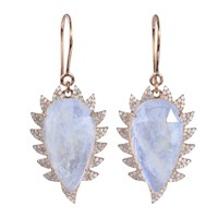 Meghna Jewels Claw Drop Earrings Moonstone And Diamonds White Rose Gold