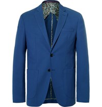 Etro Blue Wool And Cotton Blend Blazer Blue