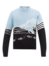 Thom Browne Dolphin Jacquard Cotton Sweater Navy