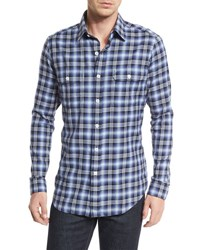Tom Ford Large Plaid Tailored Fit Sport Shirt Purple White